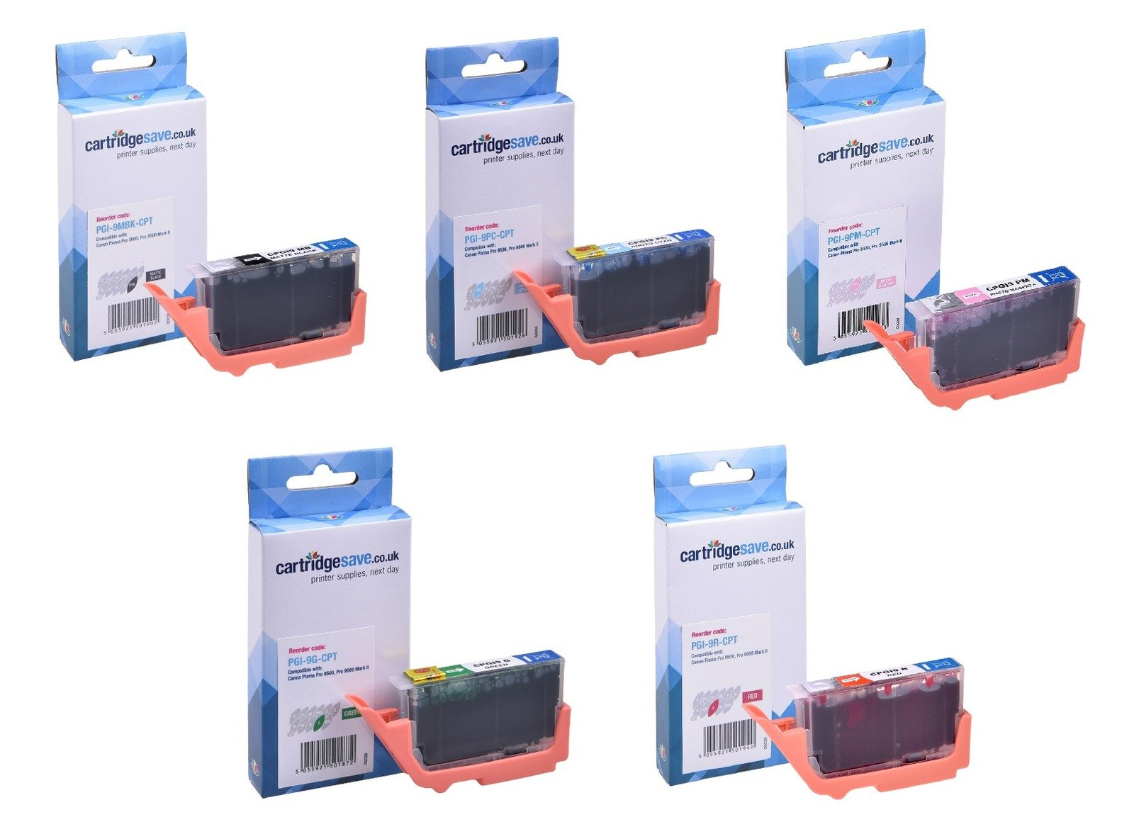 Compatible 5 Colour Canon PGI-9 Ink Matte Multipack (PGI-9MBK/PC/PM/R/G)
