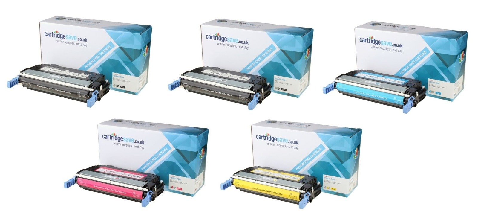 Compatible 5 Colour HP 643A Toner Cartridge Multipack - (Replaces 2 x Q5950A/Q5951A/Q5952A/Q5953A)