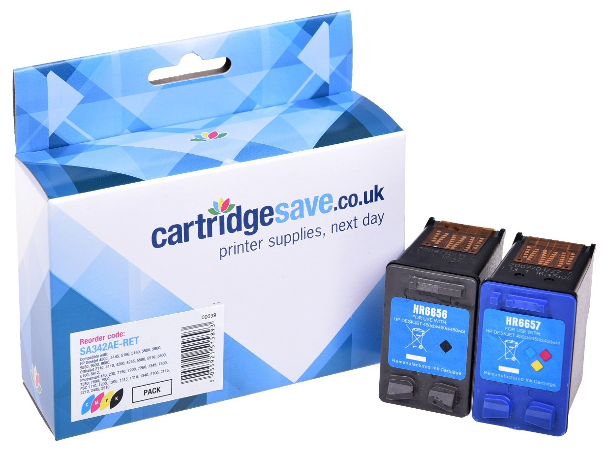 Compatible Multipack High Capacity Black & Tri-Colour HP 56 / HP 57 Printer Cartridge - (Replaces HP SA342AE Inkjet Cartridge)