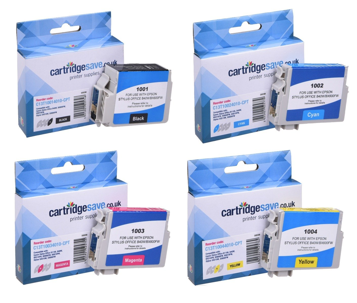 Compatible Epson 4 Colour T100 Ink Cartridge Multipack - (Replaces Epson T1001/T1002/T1003/T1004 Rhino Inkjet Printer Cartridges)