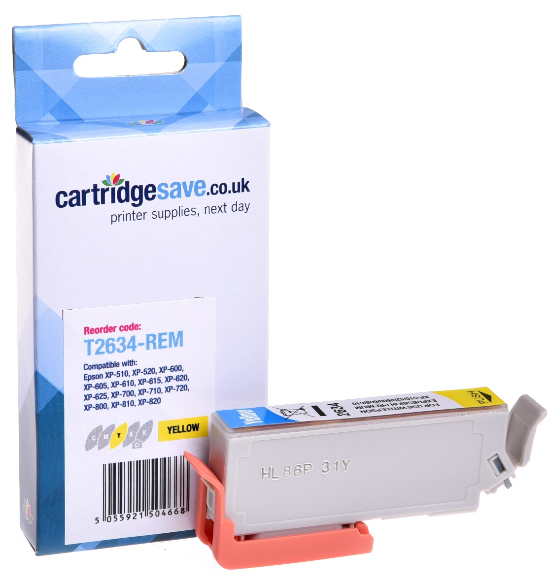 Compatible Yellow Epson 26XL High Capacity Ink Cartridge - (Replaces Epson T2634 Polar Bear Inkjet Printer Cartridges)