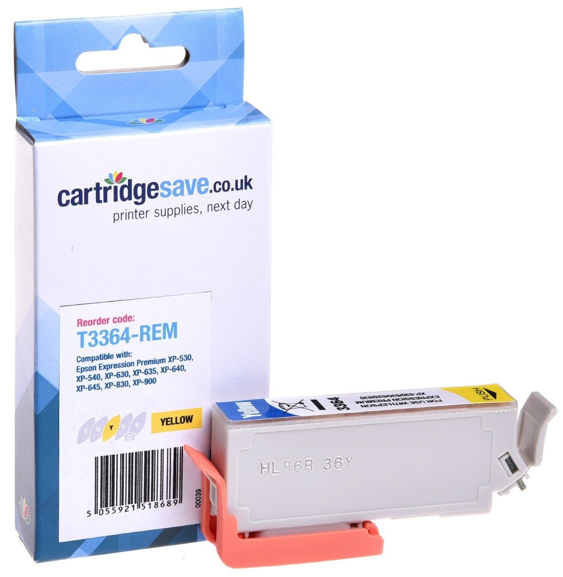 Compatible Yellow Epson 33XL High Capacity Ink Cartridge - (Replaces Epson T3364 Oranges Inkjet Printer Cartridge)