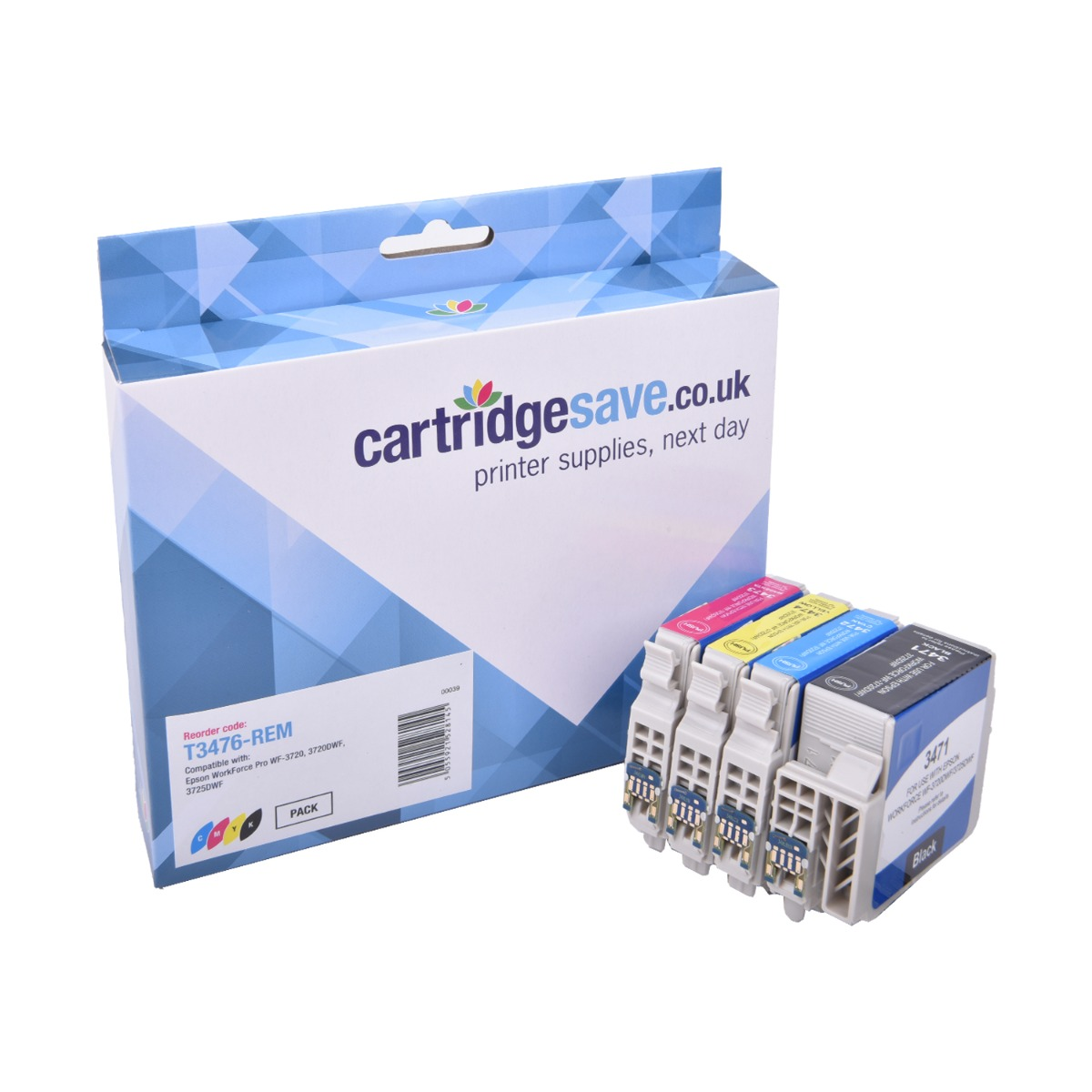 Compatible High Capacity 4 Colour Epson 34XL Ink Cartridge Multipack - (Replaces Epson T3476 Golf Ball Inkjet Printer Cartridges)