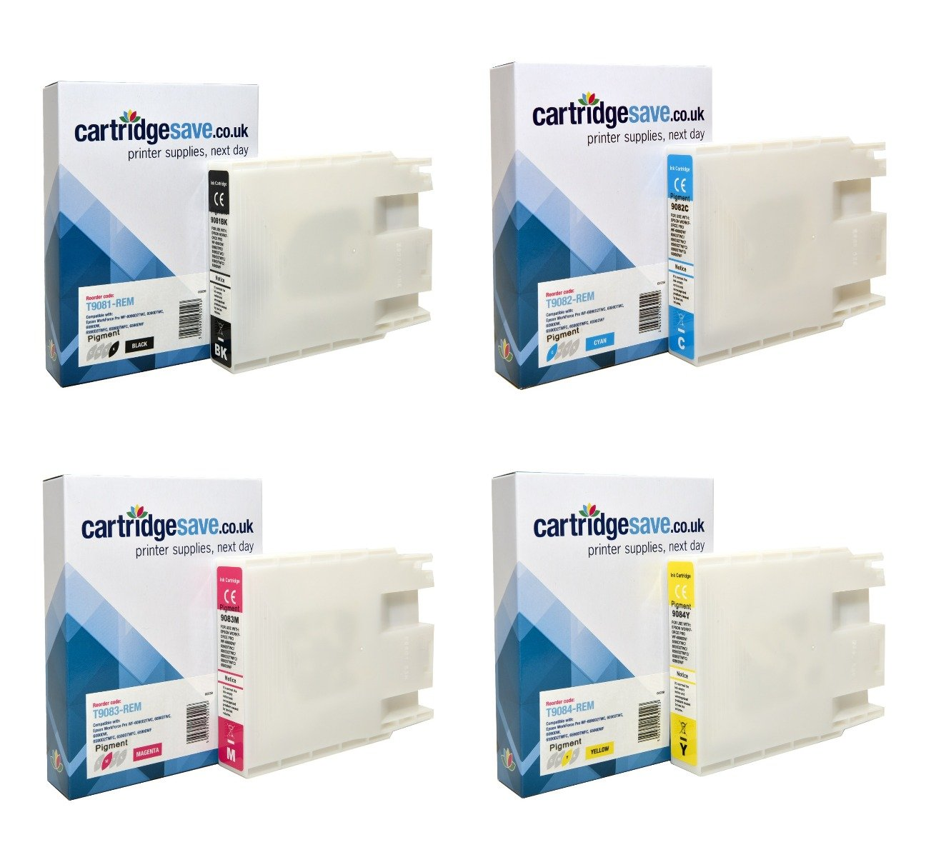 Compatible 4 Colour Epson T908 Ink Cartridge Pack - (Replaces Epson T9081/2/3/4)