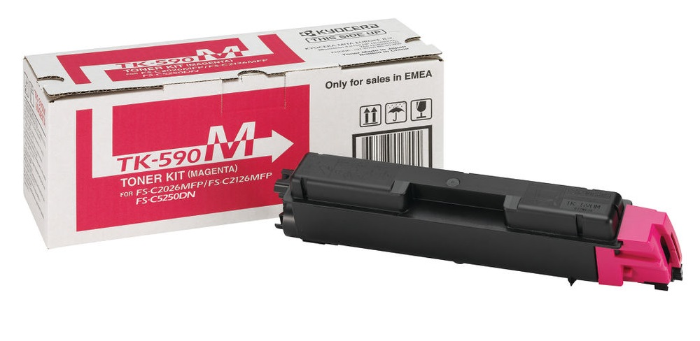 Genuine Magenta Kyocera TK-590M Toner Cartridge (1T02KVBNL0 Laser Printer Cartridge)