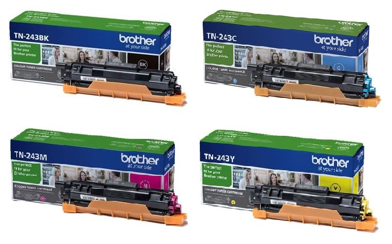 Genuine 4 Colour Brother TN-243 Toner Cartridge Multipack - (TN-243CMYK contains TN-243C/M/Y/K)