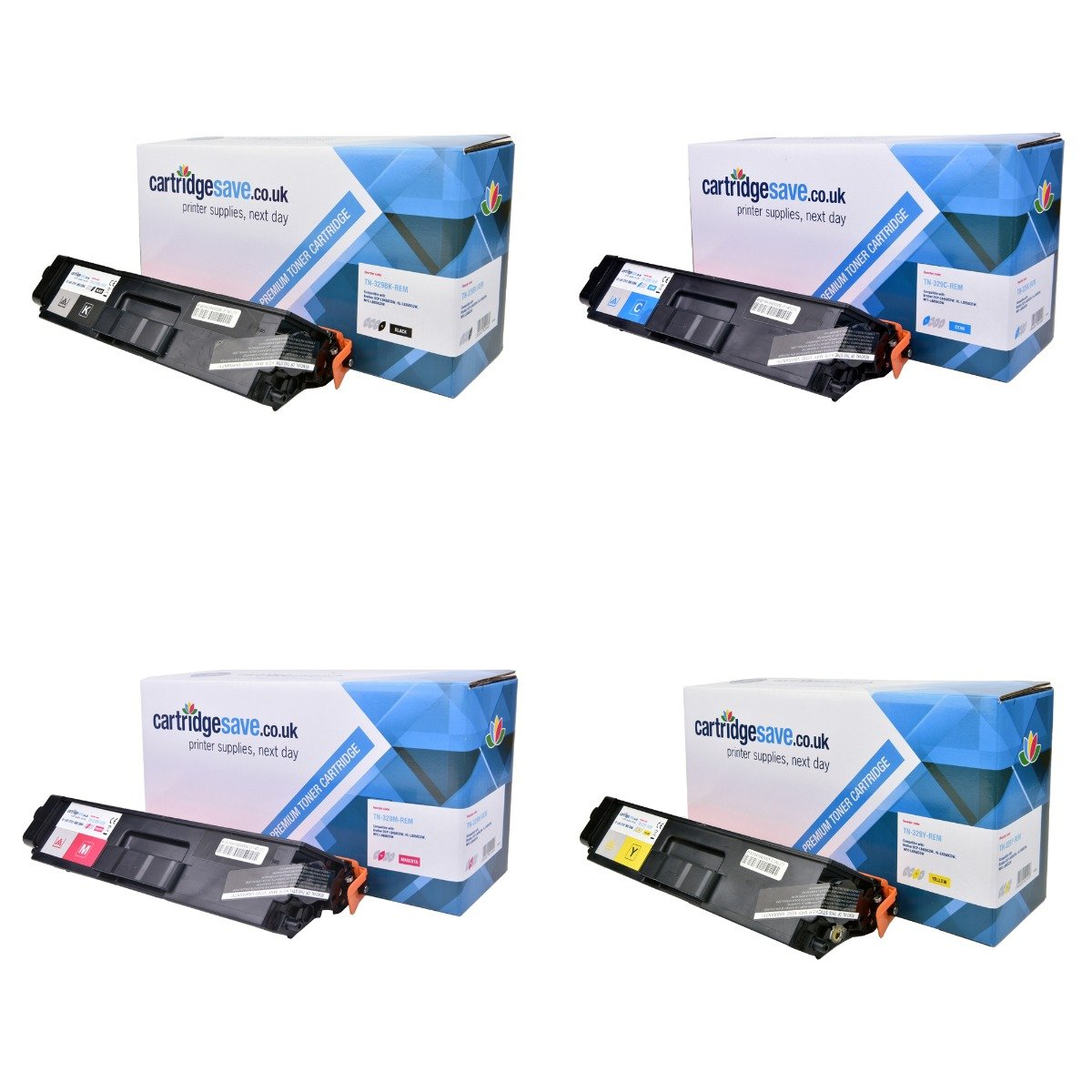 Compatible Extra High Capacity 4 Colour Brother TN-329 Toner Multipack (TN-329BK/C/M/Y)