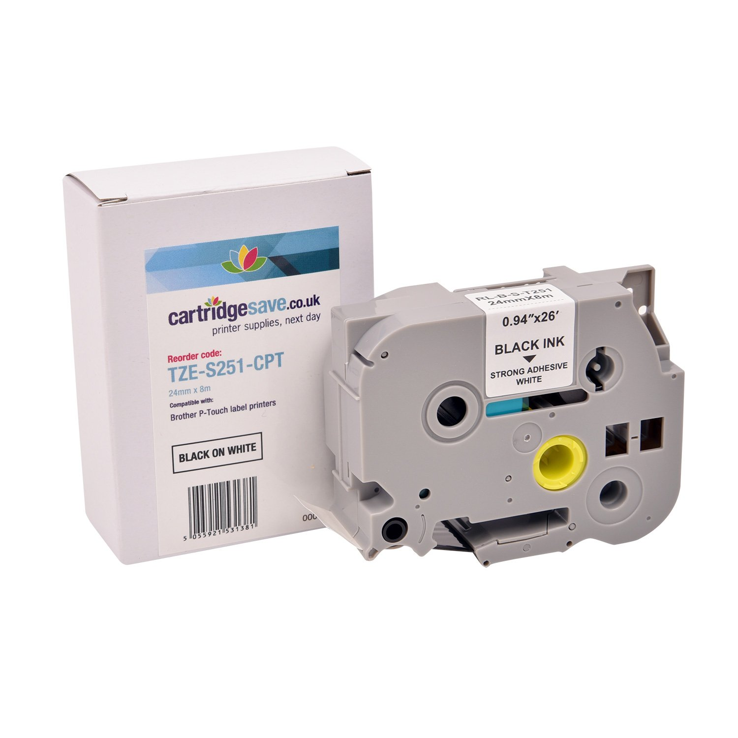 Compatible Brother TZe-S251 Black On White Label Tape 24mm x 8m (TZE-S251)