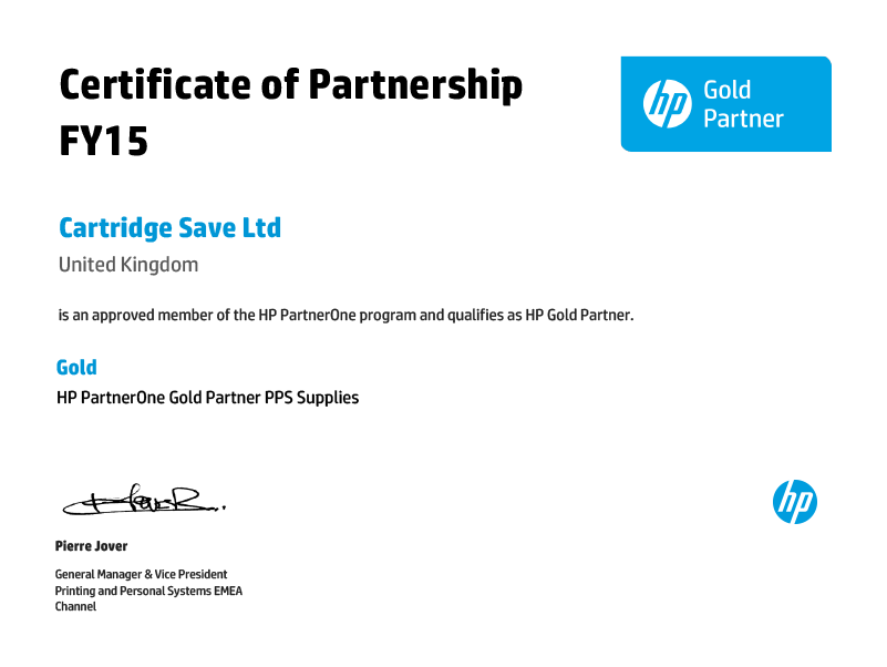 Gold Partner Certificate